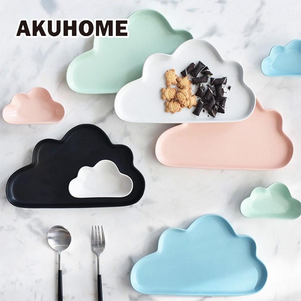 Ceramic Porcelain Cloud Rain Plate Matt Smooth Novel Cute Dish Dinnerware Kid Children font b Baby