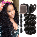 7A Peruvian Loose Wave With Closure Human Hair Weaving 3 Bundles With Closure Loose Wave Peruvian Virgin Hair With Lace Closure