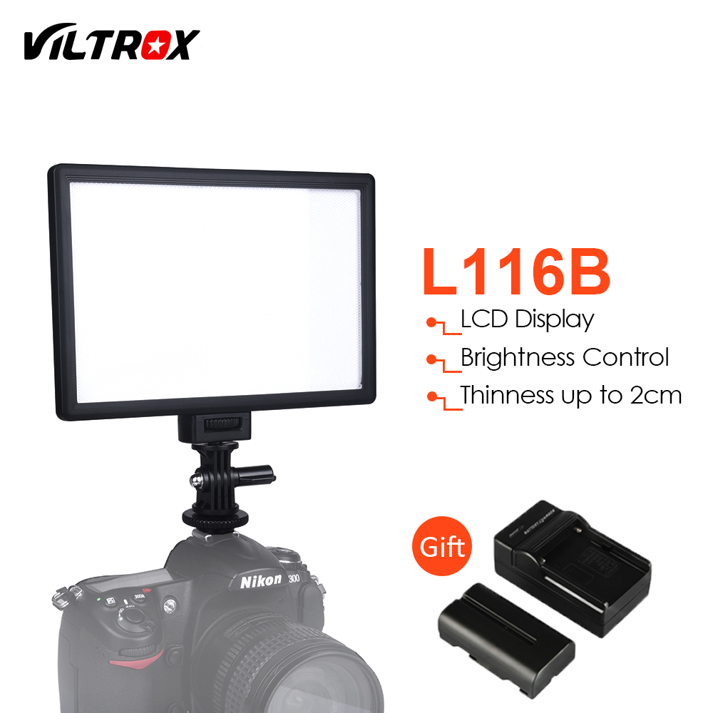Viltrox L116B Slim LCD Display Dimmable DSLR Photo Studio LED Video Light+Battery+Charger for Canon Nikon Camera DV Camcorder