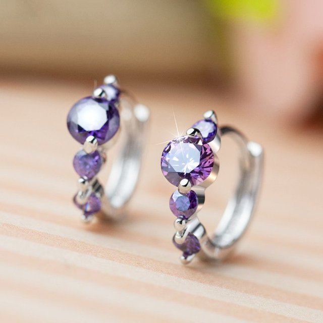 925 Sterling Silver with Platinum Plated Zircon Hoop Earrings Women Charm Brand Jewelry Free Shipping (SE015)