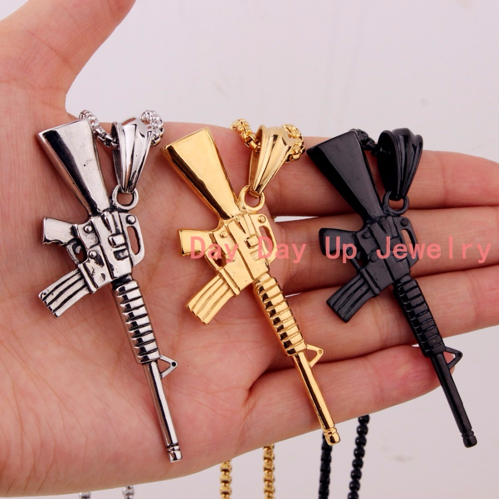"""2.99""""*1.44"""" 18g Cool 316L Stainless Steel Army Charms M16 Submachine Gun Silver Gold Black Pendant Mens Women Necklace Chain 24"""""""