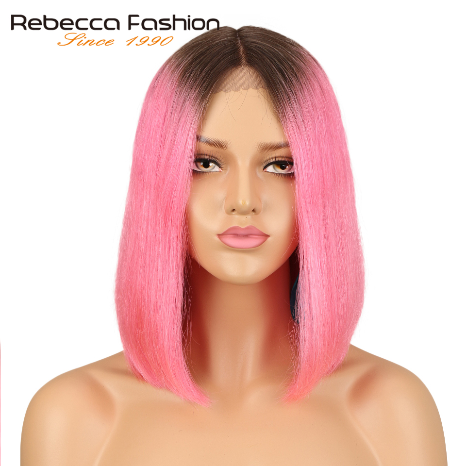 Rebecca Middle Part Lace Front Wigs For Women Brazilian Virgin Hair Silky Straight Short Bob Ombre Pink Brick Red Color Remy Wig