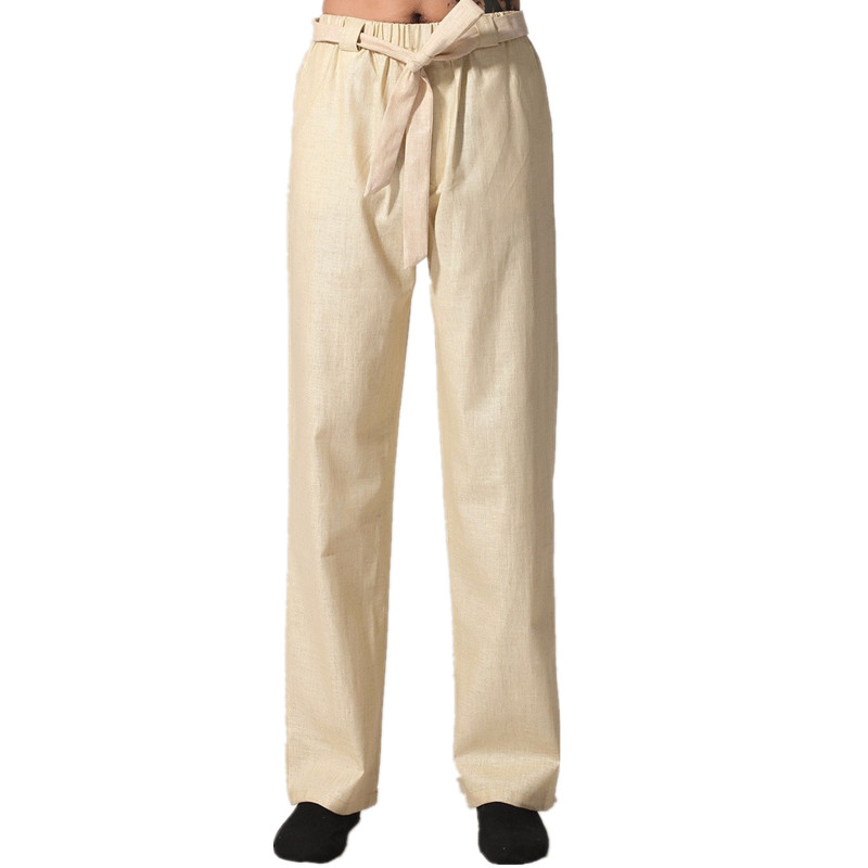 New Arrival Beige Chinese Mens Kung Fu Trousers Cotton Linen Pants Wu Shu Clothing Size S M L XL XXL XXXL MN002