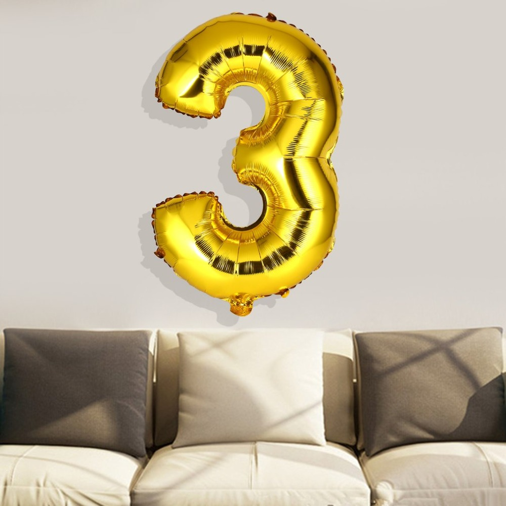 40 inch Number 3 Foil Balloon Digit Air Mylar Balloons Wedding Outdoor Happy Birthday Party Decoration
