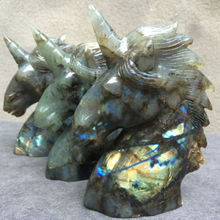 Natural labradorite  Handcrafted Unicorn Skull Figurine, Healing Energy Carved Crystal Gemstone-1pc