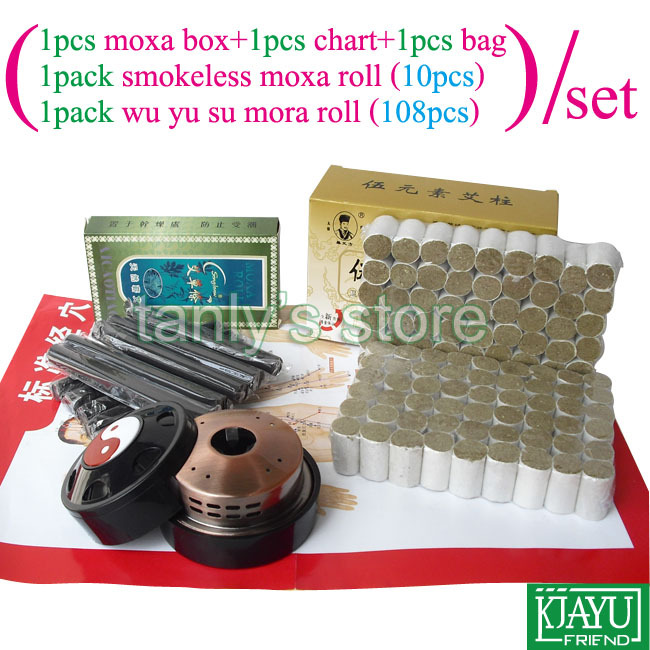 цена на Good quality! 1pcs Moxa box +1pack (108pcs) moxa roll+1pack (dia12mm 10pcs) smokeless moxibustion Roll gift bag& chart