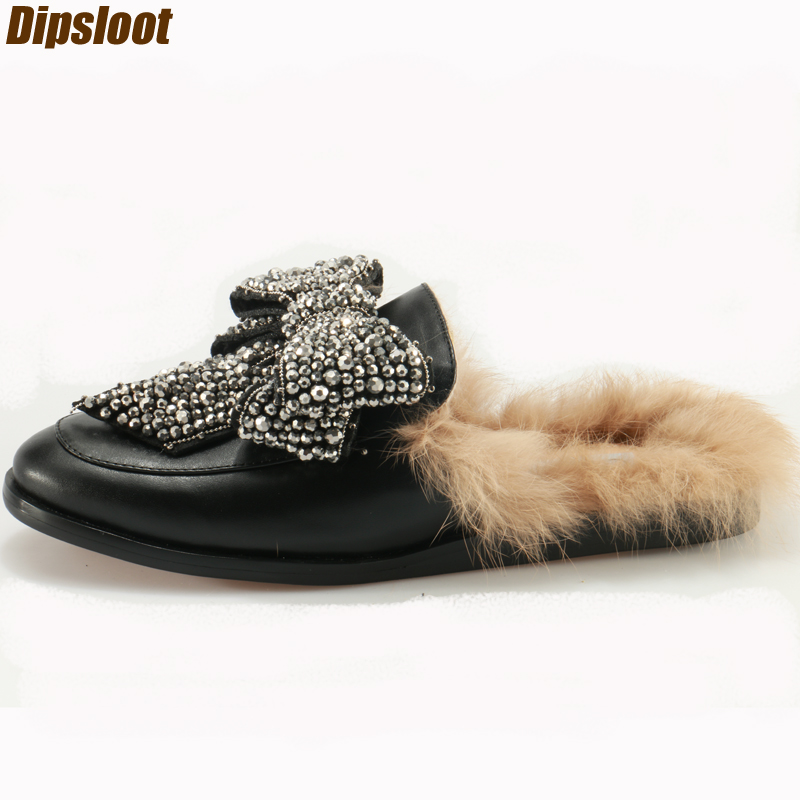 Black Smooth Leather 2017 Hot Women Fur Flats Luxury Crystal Bow Ladies Slingback Loafers Round Toe Slip On Female Leather Shoes uexia women winter warm fur plush loafers fashion round toe slip on ladies casual flats shoes women s bow tie ladies footwear