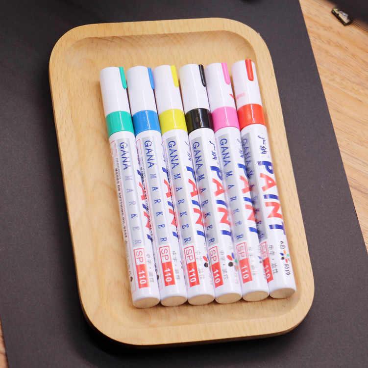 12 colori impermeabile pneumatici per auto battistrada CD metallo pennarello permanente vernice graffiti pennarello oleoso Macador Caneta cancelleria