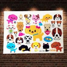 Cute Cat Pets Baby Temporary Tattoo Sticker Kids ACG-146 Sweet Dog Cartoon Waterproof Tattoo Kids Body Arm Xmas Gifts