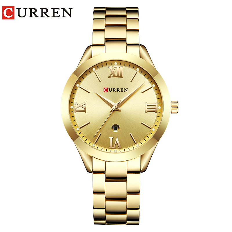 Fashion Curren Brand Women Watches Luxury Gold Quartz Ladies Watch Women Clock Wrist Watches Womens Hour Relogio Feminino 2019