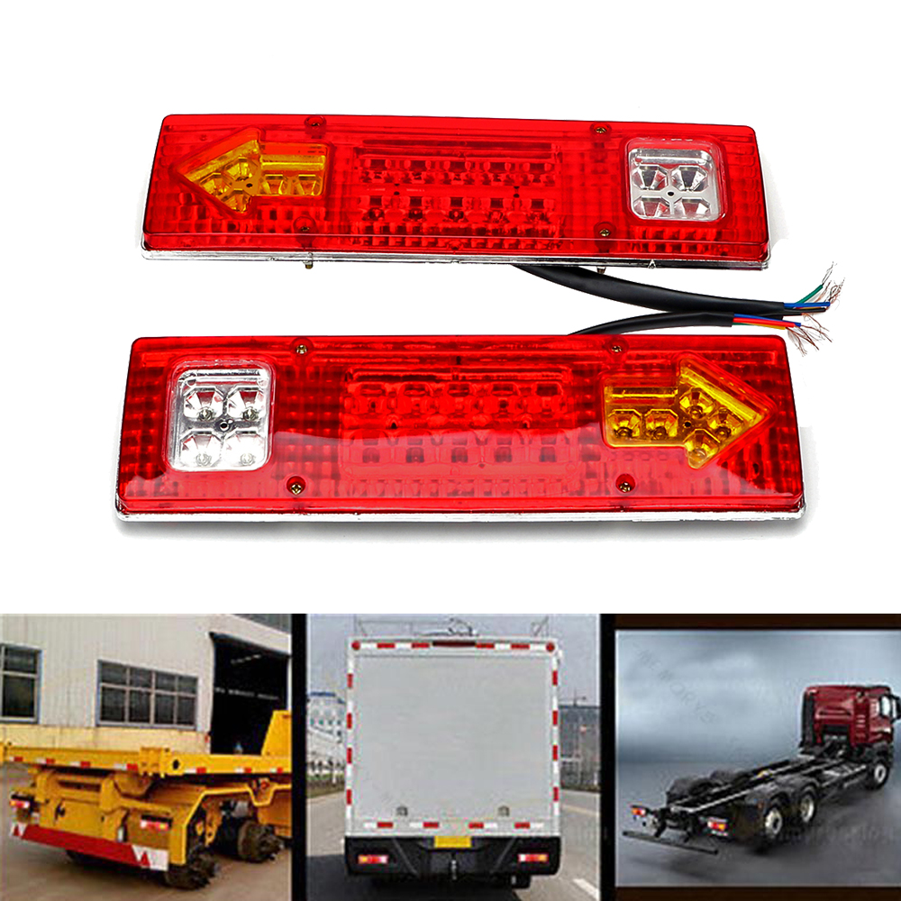 2PCS LED Truck Turn Signal Light Trailer Brake Warning Lamp Tail Reversing Running Light 12V 38 SMD Auto Lights LED Car Styling 1157 bay15d 2 3w 13 5050 smd led red car turn signal brake reversing light pair 12v