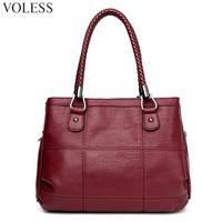 Fashion Knitting Handle Women Totes Bags High Pu Leather Handbags Women Famous Brands Patchwork Crossbody Bags