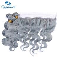 Sapphire Malaysische Grau Körperwelle Remy Menschenhaar 3 Bundles Mit spitze Frontal Phantasie Farbe Grau Für Friseursalon Hohe Verhältnis Haar