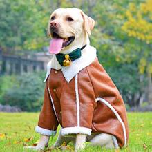 NEW Autumn Winter Large Pet Clothes Fleece Warm Dog Jacket Handsome Samoyed Border Collie Dog Apparel 3XL 4XL 5XL 6XL 7XL border collie car stickers decorating dog accessories