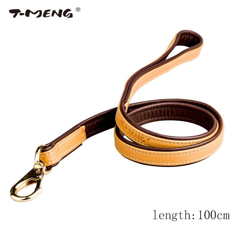 T-MENG Značková vysoce kvalitní kožená vodítka Délka vodítka 100cm pro středně velké psy Dvojitá barva Luxusní měkká tréninková šňůra