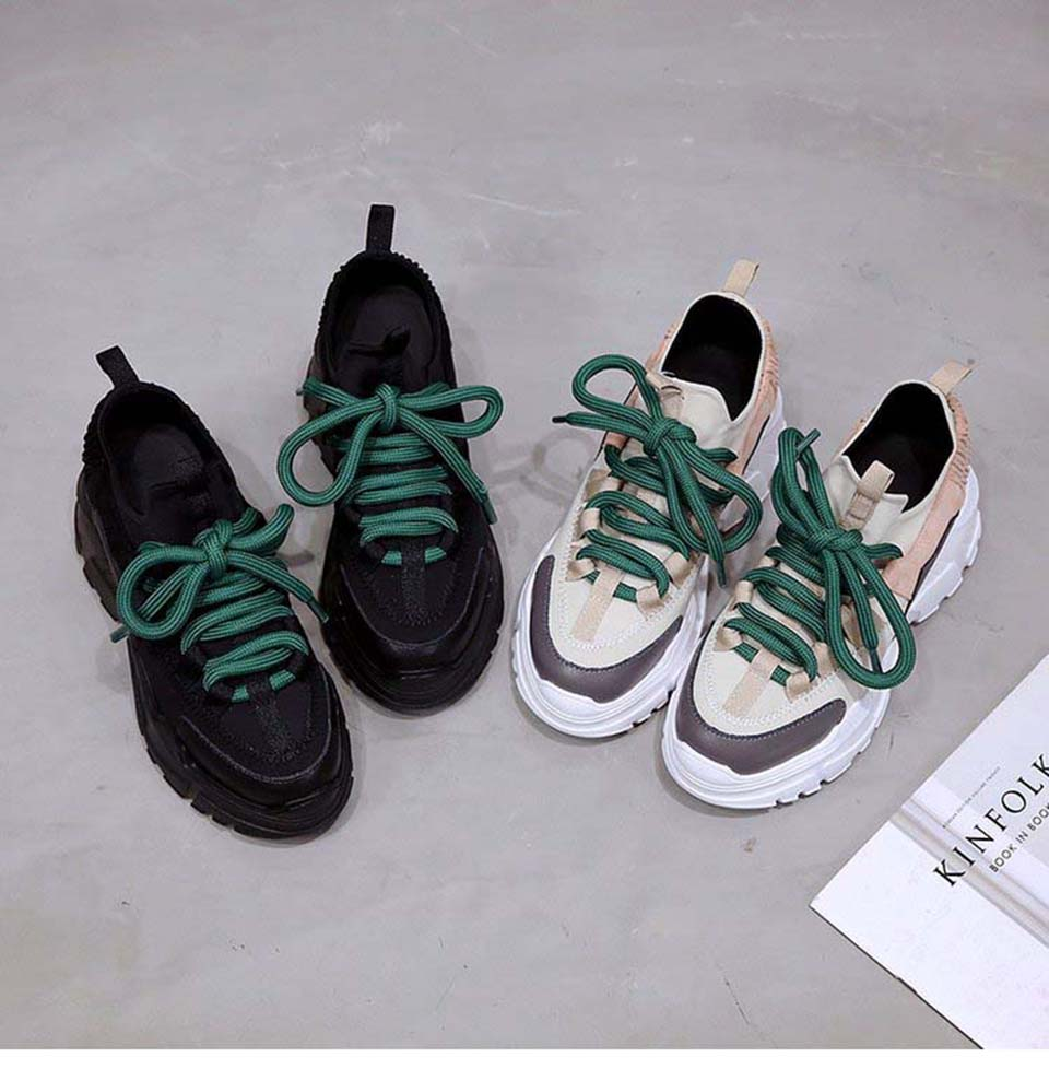 shop cheap Spring Sport Shoes Platform Sneakers PU Leather Casual Trainers on sale