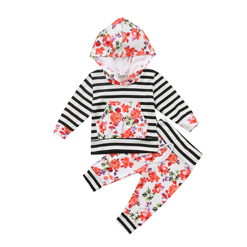 Baby Girl Floral Clothes Set Hot Sale Warm Newborn Baby Girl Hooded T-shirt Top+Pants 2017 New Fall Bebes Girls Flower Clothing