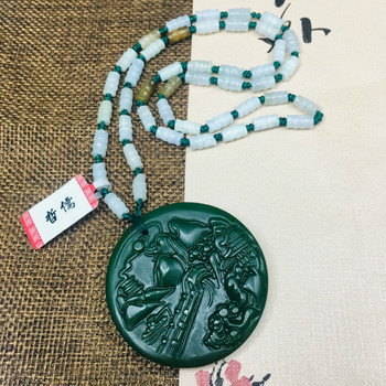 Zheru Jewelry Pure Natural Jasper Carved Green Mountain Green Water Pendant Three Color Jadeite Bead Necklace Send Class A Certi фото