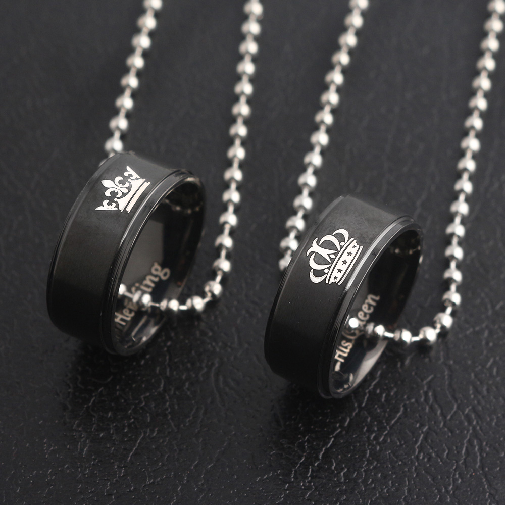 SG New Black Lover His Queen Her King Crown Letter Round Pendant Necklaces For Couple Women Men Valentine's Day Gift Jewelry