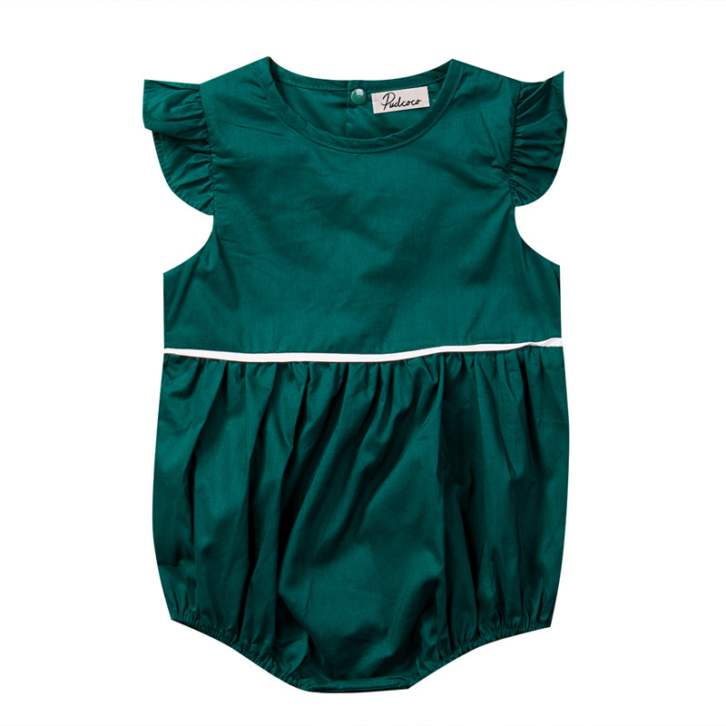 Newborn Toddler Infant Baby Girls Romper Butterfly Sleeve Green Jumpsuit Baby Girl Romper Solid Casual Outfits Sunsuit Clothes iyeal newest 2018 princess newborn baby girl romper lace cotton long sleeve infant jumpsuit headband toddler outfits for 0 12m