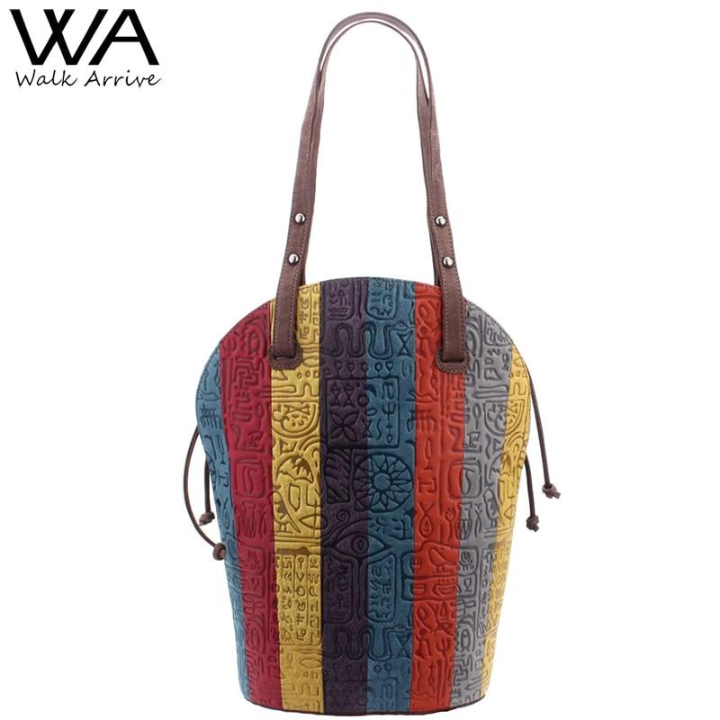 Walk Arrive Genuine Leather Women Handbag Tote Bag Brand Design Oracle Embossed Leather Single Shoulder Bag Fashion Purse