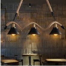 Американский Лофт креативный винтажный подвесной светильник с железной веревкой, промышленный светильник Эдисона для бара, гостиной, декоративная лампа