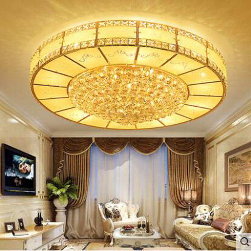 European style gold LED round crystal lamp bedroom lamps creative modern minimalist atmosphere living room ceiling lamp lighting creative round ceiling led lamp bedroom lamp modern minimalist living room dining lamps