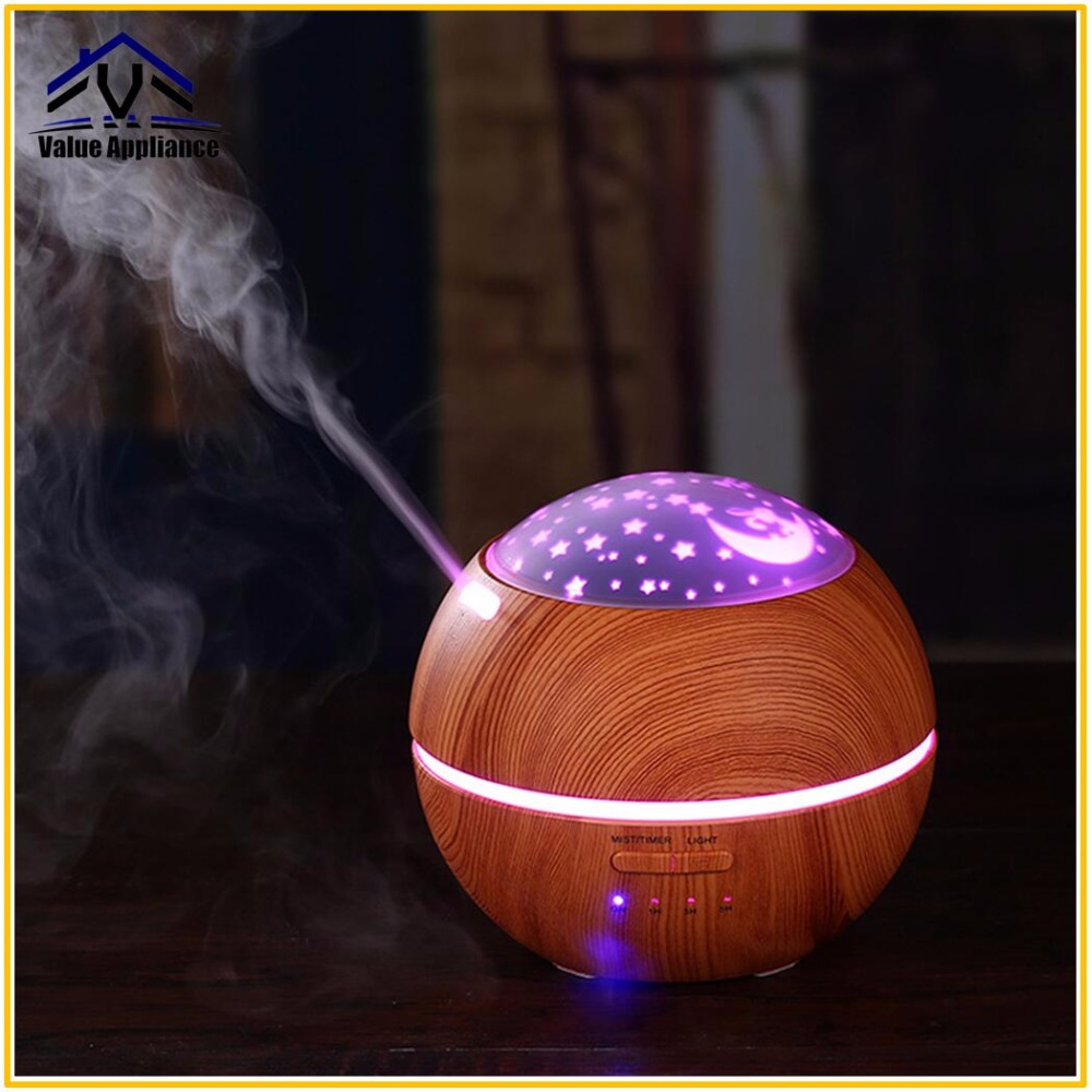 Aroma Essential Oil Diffuse Ultrasonic Cool Mist Humidifier With Star Projection Air Purifier Night light for Children's Room