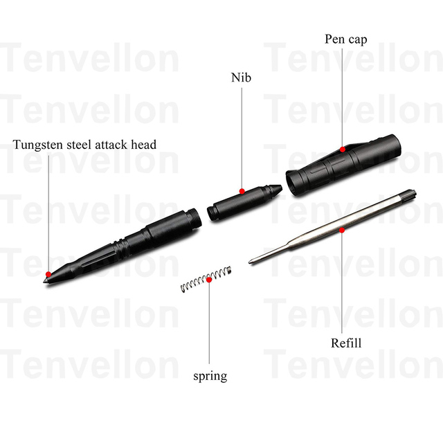 Tenvellon Self Defense Supplies Tactical Pen Tungsten Steel Security Protection Personal Defense Tool Defence Simple Package