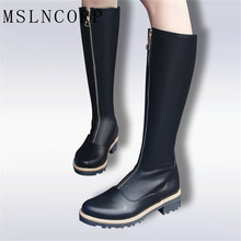 Plus Size 34-43 New High Quality Zip Knee High Boots Women Soft Leather Winter Boots Comfortable Warm Fur Women Long Boots Shoes new long boots women fashion soft leather women s boots elegant knee high boots 2017 winter boots women comfortable shoes women