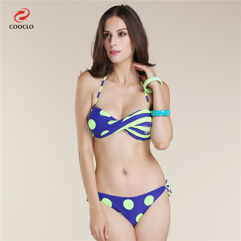 2016 new style dot sexy twist halther strappy bra push up ...