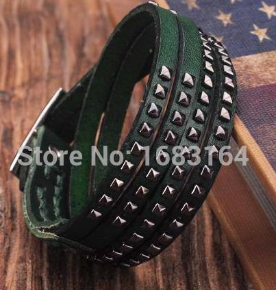 Green Double Wrap Leather...