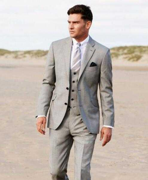 Aliexpress.com : Buy Two Buttons Light Grey Groom Tuxedos Notch ...