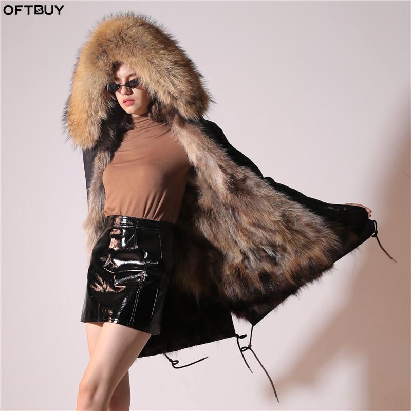 2019 Real Fur Coat Winter Jacket Women Long Parka Waterproof Big Natural Raccoon Fur Collar Hood Thick Warm Real Fox Fur Liner 5