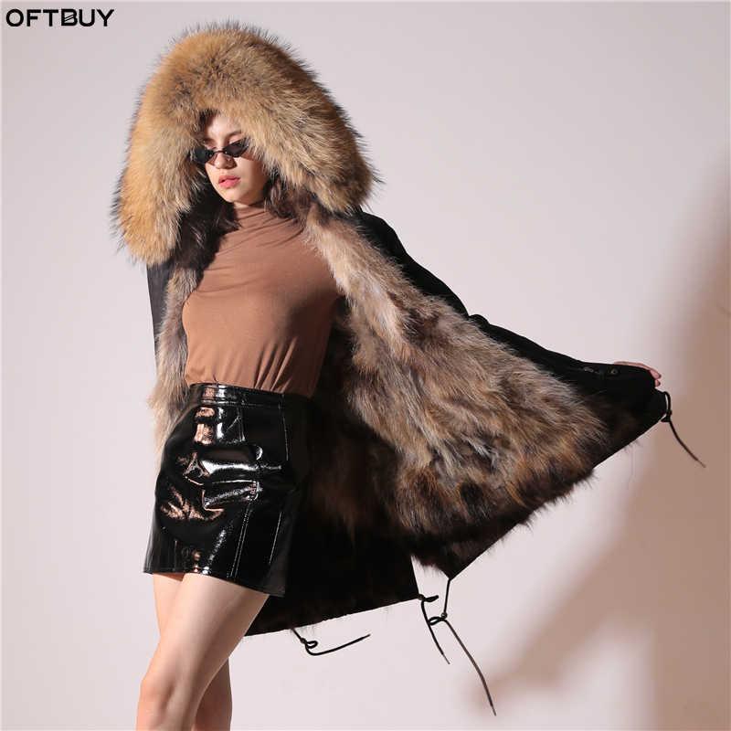 2019 リアルファーコート冬のジャケットの女性の防水ビッグ毛皮の襟フード厚く暖かい本物のキツネ毛皮ライナー