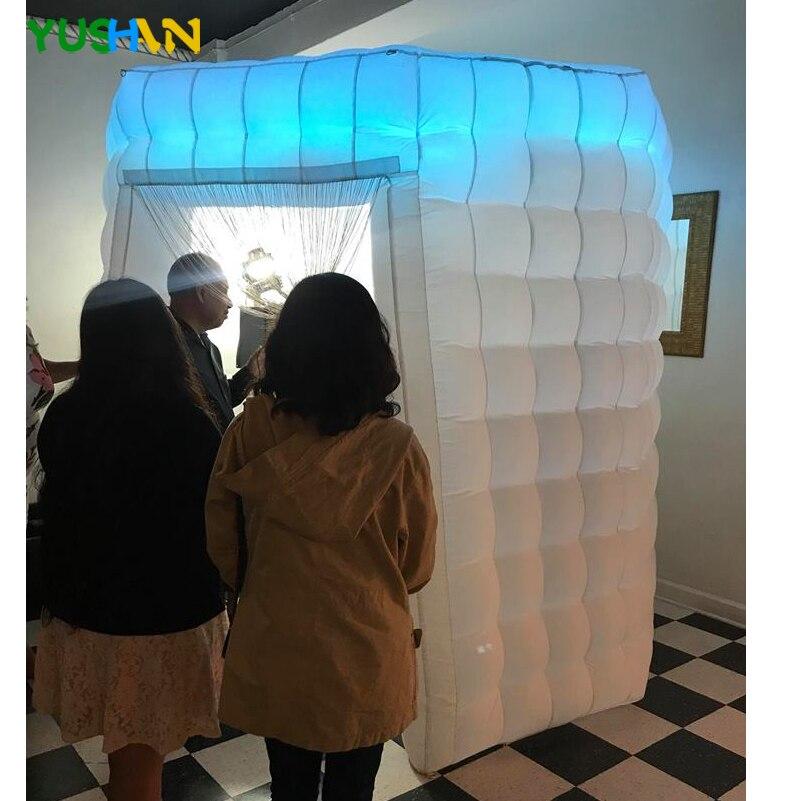 Led leuchten tragbare photo booth zelt mit schnurrbart requisiten Runde photo booth fotografie kulissen Aufblasbare Photo Booth Für Verkauf - 6