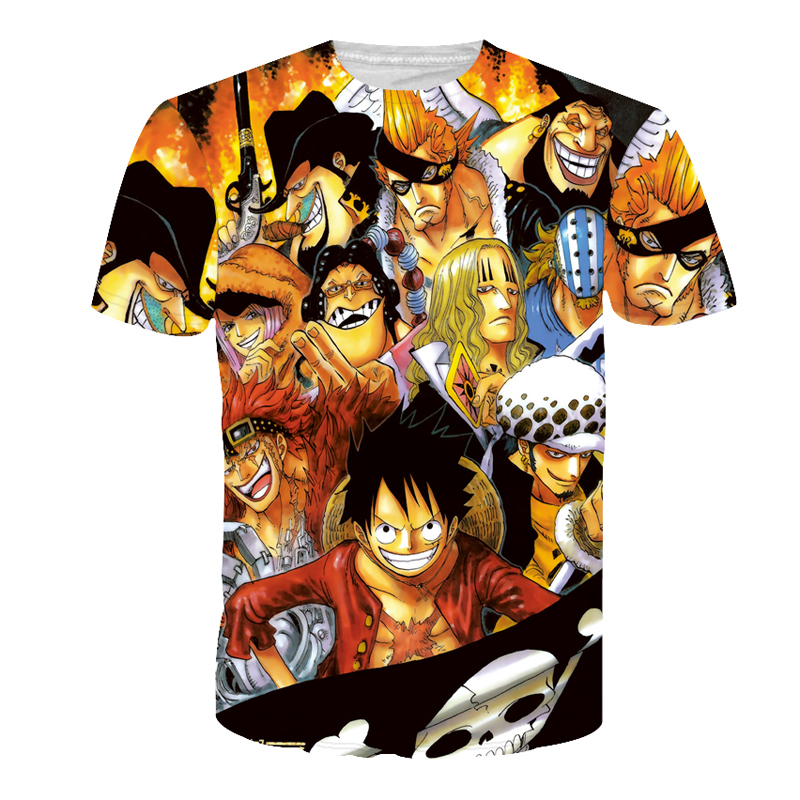 CWLSP Give Me 5 Store CWLSP Men's Naruto 3D T Shirt Cartoon Anime Dragon Ball Print T-shirt home Clothing Harajuku One Piece Camisetas Hombre QA998