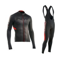 2018 NW Winter Thermal Fleece Cycling Jersey Long Sleeve Jerseys Cycling Bib Pants Set Bike Bicycle