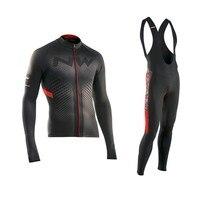 2018 NW Winter Thermal Fleece Cycling Jersey Long Sleeve Jerseys Cycling Bib Pants Set Bike Bicycle
