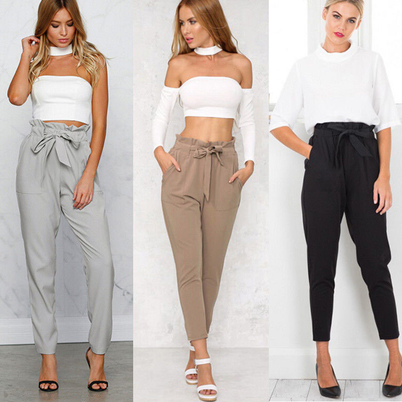 Womens High Waist Paperbag Trousers Ladies Party Cigaratte Casual Harem Pants