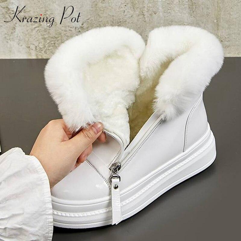 Ayakk.'ten Ayak Bileği Çizmeler'de Krazing pot hakiki deri yuvarlak ayak düz platform sıcak tutmak tavşan kürk dekorasyonu soğuk koruma tatlı kız kar botları L15'da  Grup 1