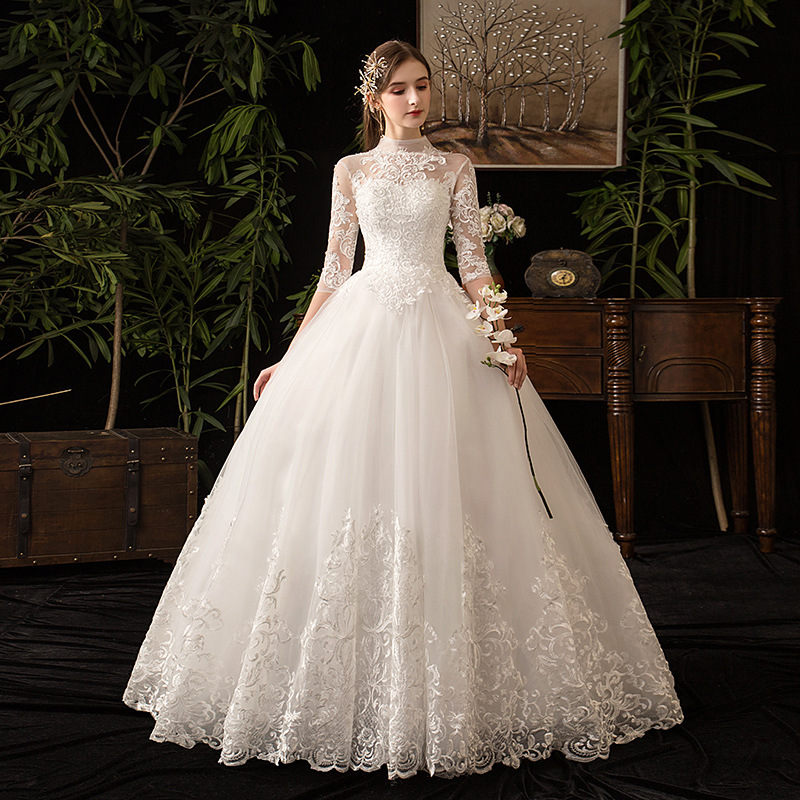 Image 3 - Chinese Style High Neck Half Sleeve 2019 New Wedding Dress  Illusion Lace Applique Simple Custom Made Bridal Gown Robe De  MarieeWedding Dresses