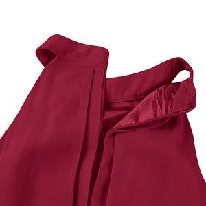 Image 5 - Tiaobug Kadınlar Bayanlar Halter Boyun Kolsuz Yüksek düşük Şifon Zarif Nedime Yaz Elbiseler Örgün Parti Balo Abiye Elbise