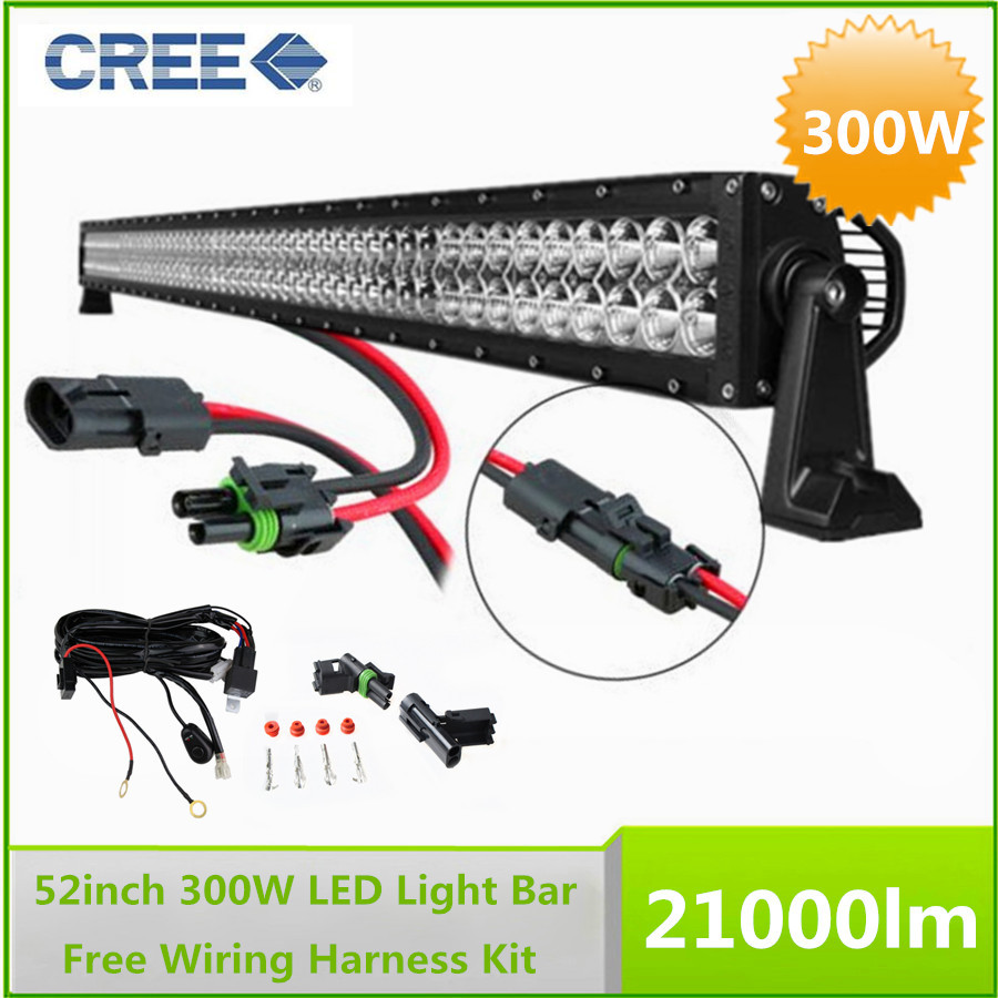hight resolution of 52 300w cree led work working driving light bar combo beam with wiring harness for cree led light bar
