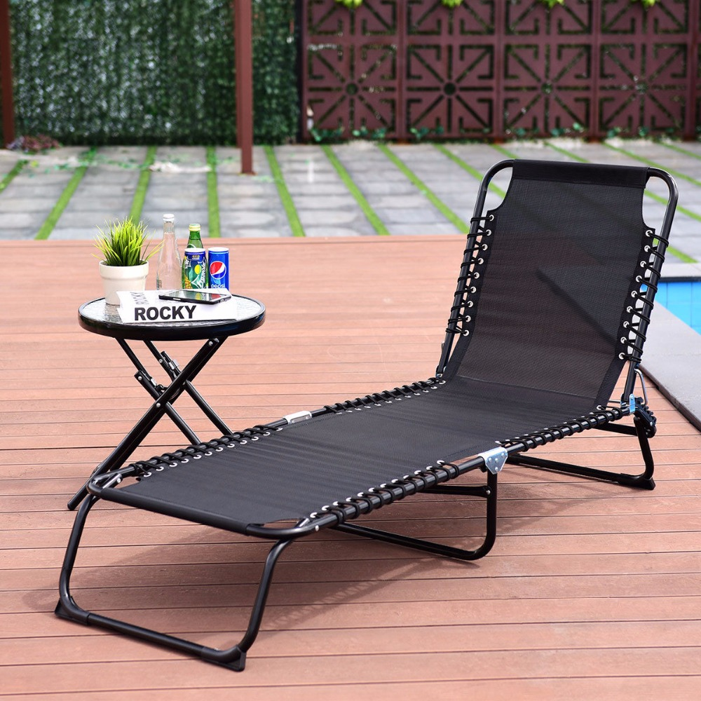 Folding Chaise Lounge Chairs Outdoor Us 49 99 Giantex Foldable 3 Positions Camping Cot Patio Chaise Lounge Chair Leisure Bed Yard Outdoor Furniture Op3641 In Sun Loungers From Furniture
