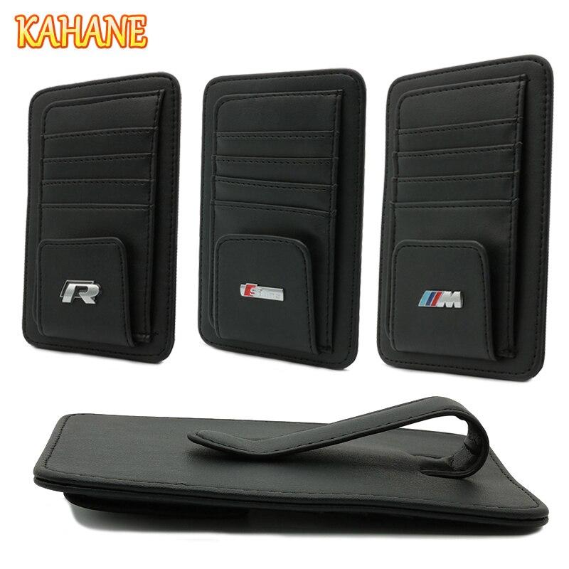 KAHANE Leather Car Sun Visor Sunglasses Holder Clip Credit Card Bag FOR Audi A6 Q5 A4 A3 A5 BMW E46 E39 F10 F30 VW Passat Golf free ship turbo k03 29 53039700029 53039880029 058145703j n058145703c for audi a4 a6 vw passat 1 8t amg awm atw aug bfb aeb 1 8l