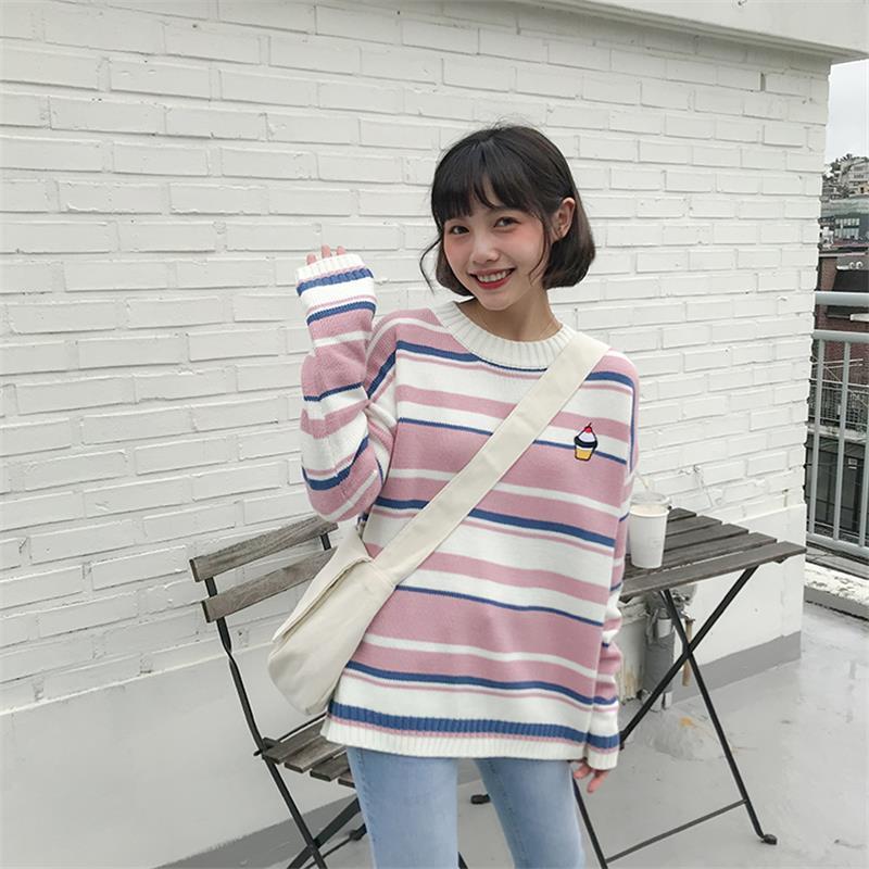 Women's Sweaters Japanese Kawaii Ulzzang Striped Cartoon Embroidered Cake Sweater Female Korean Harajuku Clothing For Women