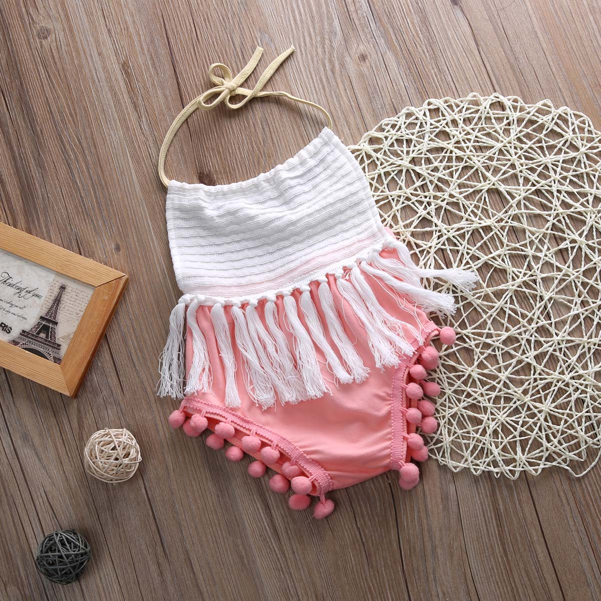 d02c6cdd966b Summer Newborn Infant Baby Girls Clothes Halter Sleeveless Tassel Patchwork Romper  Jumpsuit Outfits-in Bodysuits from Mother   Kids on Aliexpress.com ...