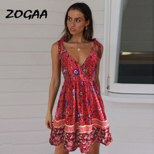 ZOGAA Boho Floral Print Women Summer Dress Elegant V-neck Sexy Spaghetti Strap Backless Ruffles Robe Holiday Beach Female