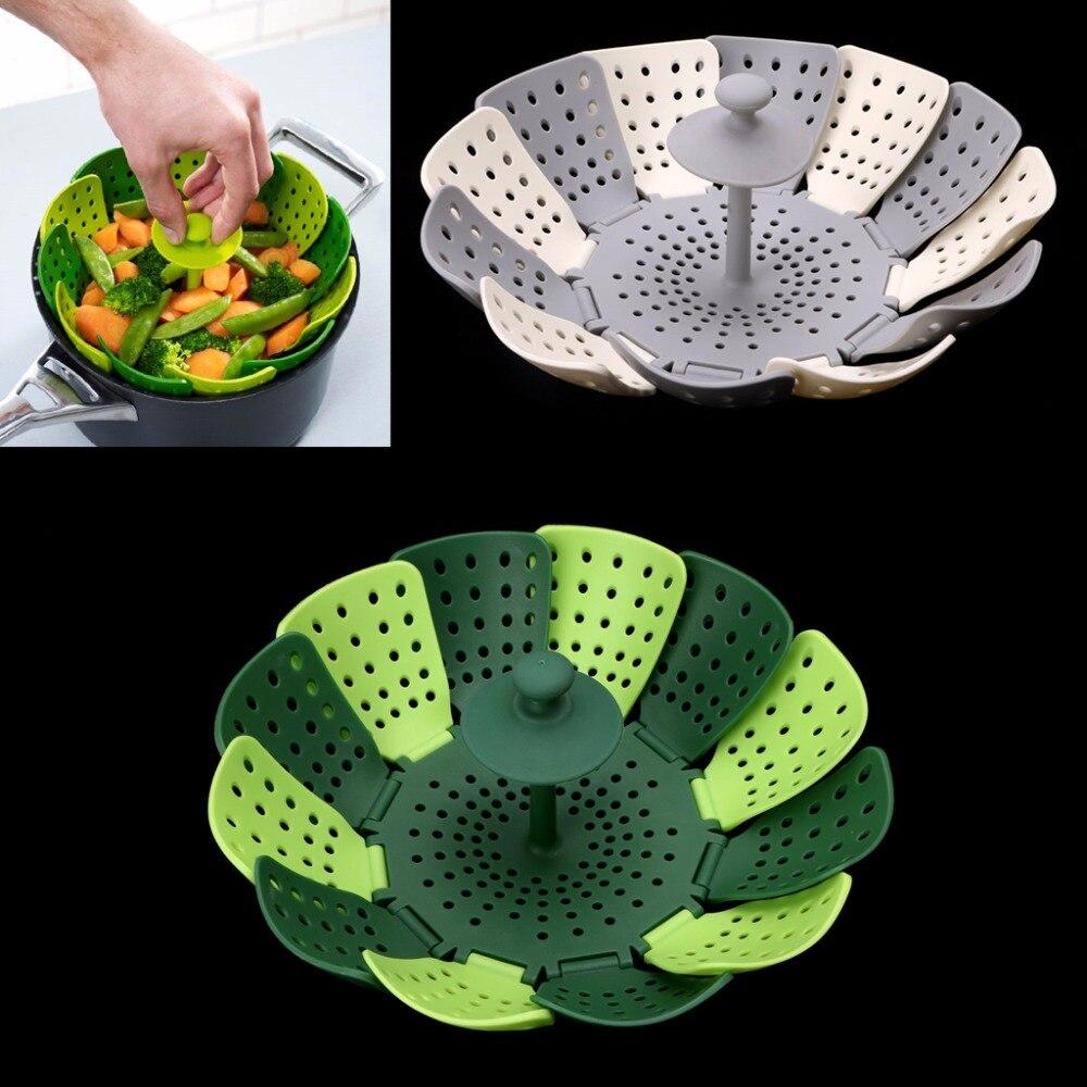 hot pieghevole del silicone di cottura degli alimenti cucina a vapore antigraffio cesto di frutta verdura